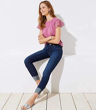 LOFT Petite Modern Cuffed Skinny Crop Jeans in Dark Classic Indigo Wash