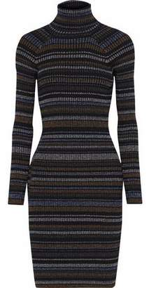 Milly Striped Ribbed-Knit Turtleneck Dress