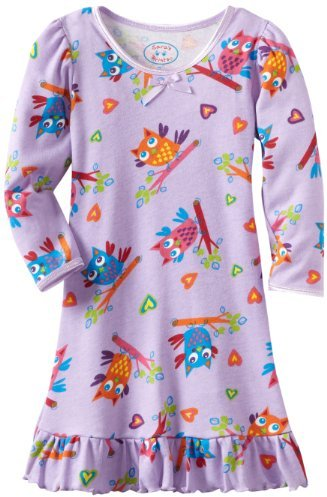 Sara's Prints Girls 2-6X Hoot Puffed Sleeve Nightgown