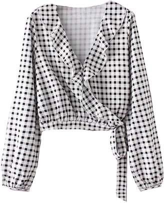 Goodnight Macaroon 'Kaira' Ruffle Lapel Wrap Gingham Shirt