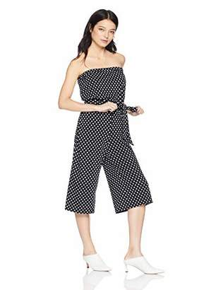 MSK Women's Petite On/Off The Shoulder Cropped Jumpsuit with dots