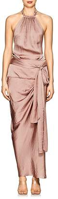 Juan Carlos Obando Women's Draped Satin Halter Dress