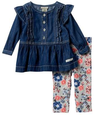 Calvin Klein Lightweight Denim Ruffle Top & Leggings Set (Baby Girls 3-9M)