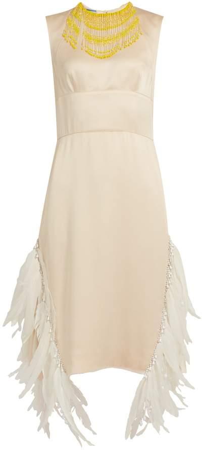 PRADA Sleeveless feather-embellished satin dress