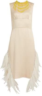 Sleeveless feather-embellished satin dress