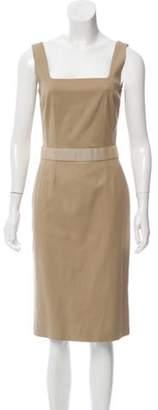 Dolce & Gabbana Sleeveless Knee-Length Dress Khaki Sleeveless Knee-Length Dress