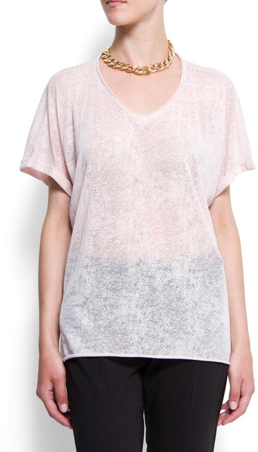 MANGO Devoré loose-fit t-shirt