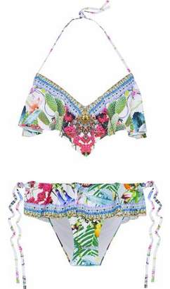 Camilla Crystal-Embellished Ruffled Printed Halterneck Bikini