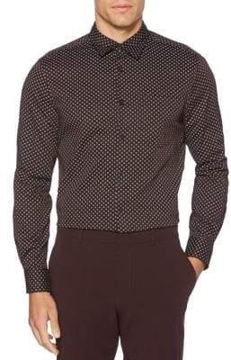Perry Ellis Mini-Foulard-Print Long Sleeve Button-Down Shirt