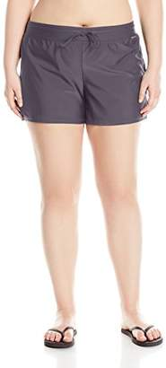 ZeroXposur Women's Plus Size Action Swim Boardshort with Built-in Brief
