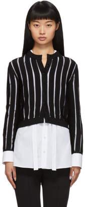 Alexander McQueen Black Sheer Striped Short Cardigan