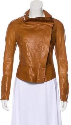 Donna Karan Leather Zip-Up Jacket