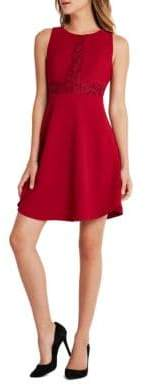 BCBGeneration Sleeveless Contrast Triangle-Front Fit and Flare Dress