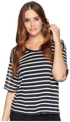 Splendid Linen Shadow Stripe Wide Neck Tee Women's Sleeveless