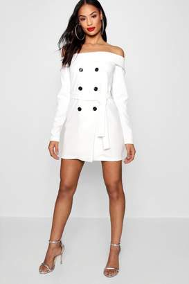 boohoo Off Shoulder Double Breasted Blazer Dress