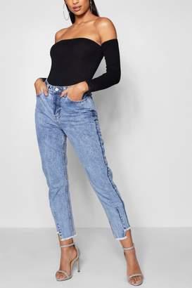boohoo High Waist Step Hem Mom Jeans
