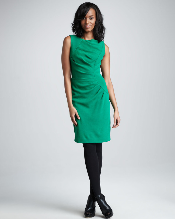 Milly Tucked Sheath Dress
