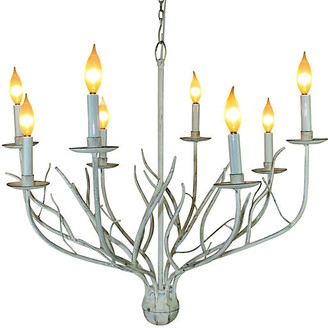 One Kings Lane Twig 8-Light Chandelier - Antiqued White