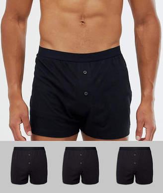 Asos DESIGN jersey boxers in black 3 pack