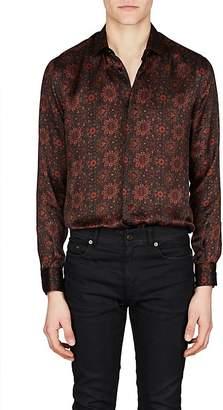 Saint Laurent Men's Tapestry Silk Satin Shirt