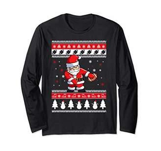 Football Santa Floss Funny Ugly Christmas Sweater Long Sleev