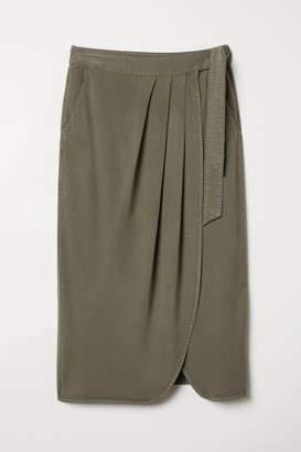 H&M Lyocell-blend Wrapover Skirt - Green
