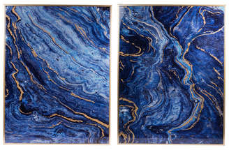 A&B Home Set Of 2 Blue Marbled Panels