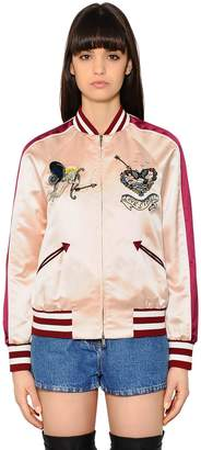 Valentino Embroidered Silk Satin Bomber Jacket