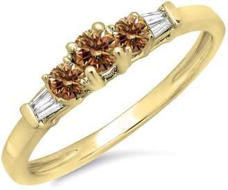 DazzlingRock Collection 0.45 Carat (ctw) 14K Yellow Gold & White Diamond 3 Stone Engagement Bridal Ring (Size 8)