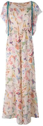 RED Valentino Hummingbirds Print Silk Crepon Jumpsuit