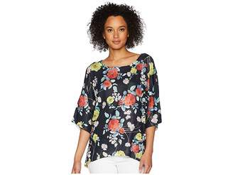 Nally & Millie Black Floral Print Dolman Top Women's Clothing