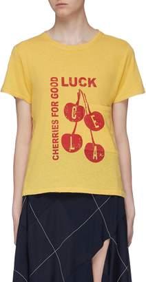 Current/Elliott 'The Drop Pocket' slogan graphic print distressed T-shirt