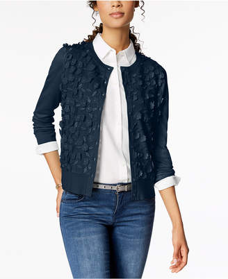 Charter Club Long-Sleeve Floral-Applique Cardigan