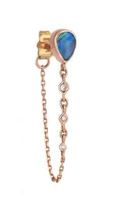Celine Daoust Single Pear Opal and Diamond Chain Earring