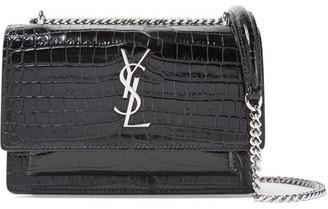 Saint Laurent - Sunset Croc-effect Patent-leather Shoulder Bag - Black $1,550 thestylecure.com