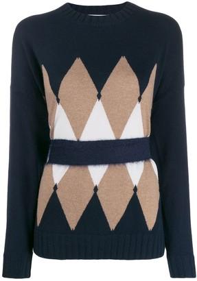Ballantyne argyle cinched-waist cashmere jumper