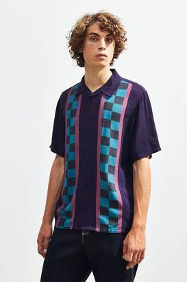 Lazy Oaf Check Stripe Short Sleeve Button-Down Shirt