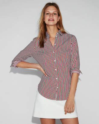 Express Slim Fit Striped Long Sleeve Essential Shirt