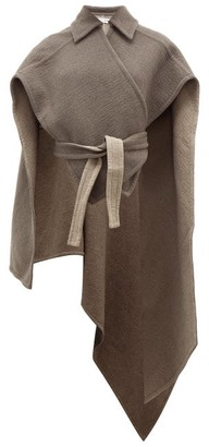 J.W.Anderson Asymmetric Wrap Around Cashmere Cape - Womens - Light Grey