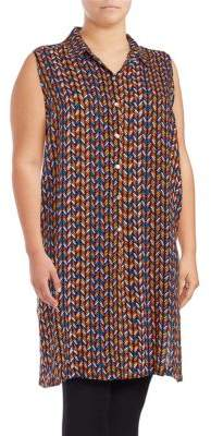 Context Plus Button Front Sleeveless Tunic Top