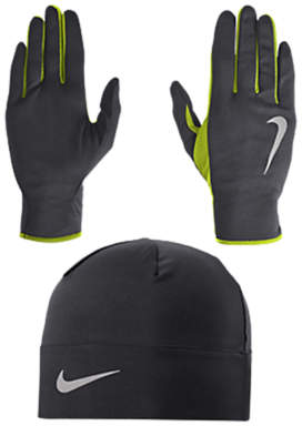 Nike Dri-Fit Men's Running Beanie Hat and Glove Set, Athracite/Volt/Silver