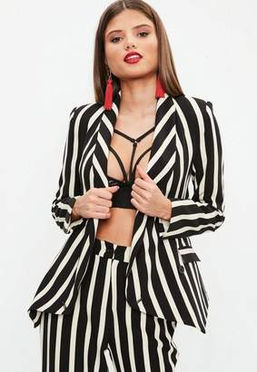 Missguided Black Mono Stripe Drape Front Blazer