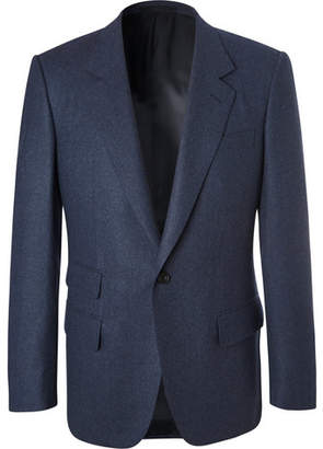 Kingsman Blue Slim-Fit Melange Wool-Flannel Suit Jacket