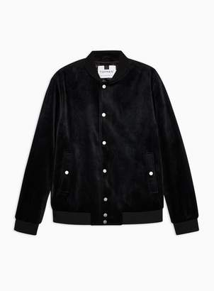 Topman Mens Black Velvet Bomber Jacket
