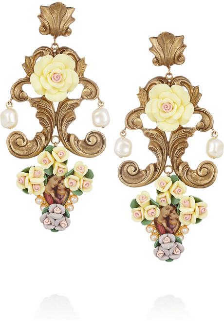 Dolce & Gabbana Gold-tone resin cameo clip earrings