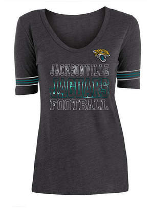 5th & Ocean Women's Jacksonville Jaguars Tri Blend Foil Sleeve Stripe T-Shirt
