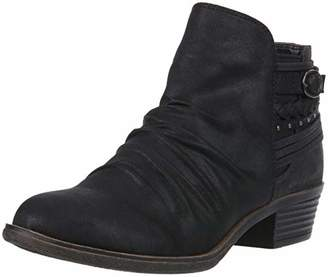 Sugar TALI Women's Casual Trendy Low Heel Scrunch Ankle Bootie with Back Strap Details Boot