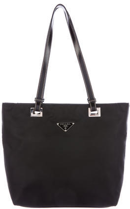 prada Prada Leather-Trimmed Tessuto Tote