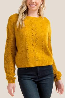 francesca's Sydney Pointelle Cropped Sweater - Marigold