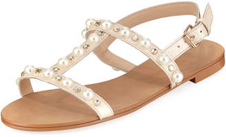 Neiman Marcus Prize Studded Flat Sandal
